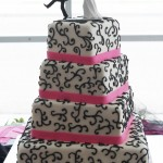 4 Tiered Wedding Cake Black Scroll Hot Pink