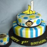 Mod-Monkey-1-Banana-Tiered-First-Birthday-Cake-with-Baby-Cake