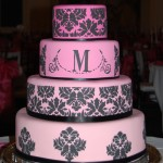 pink-black-damask-wedding-cake