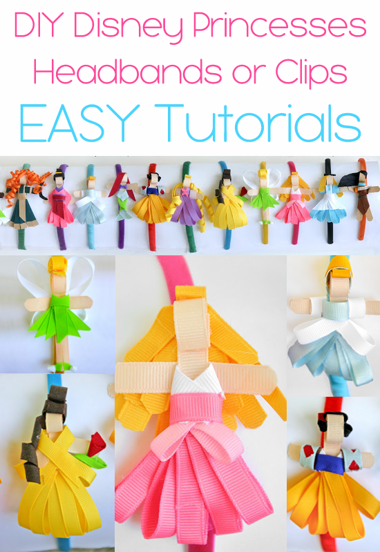 Make Disney Princesses Headbands or Hair Clips {tutorials}
