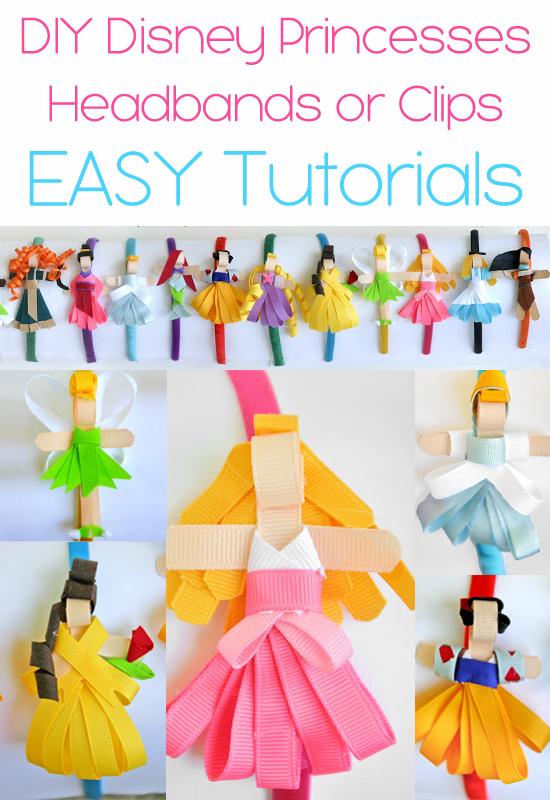 Make Disney Princesses Headbands or Hair Clips {tutorials}