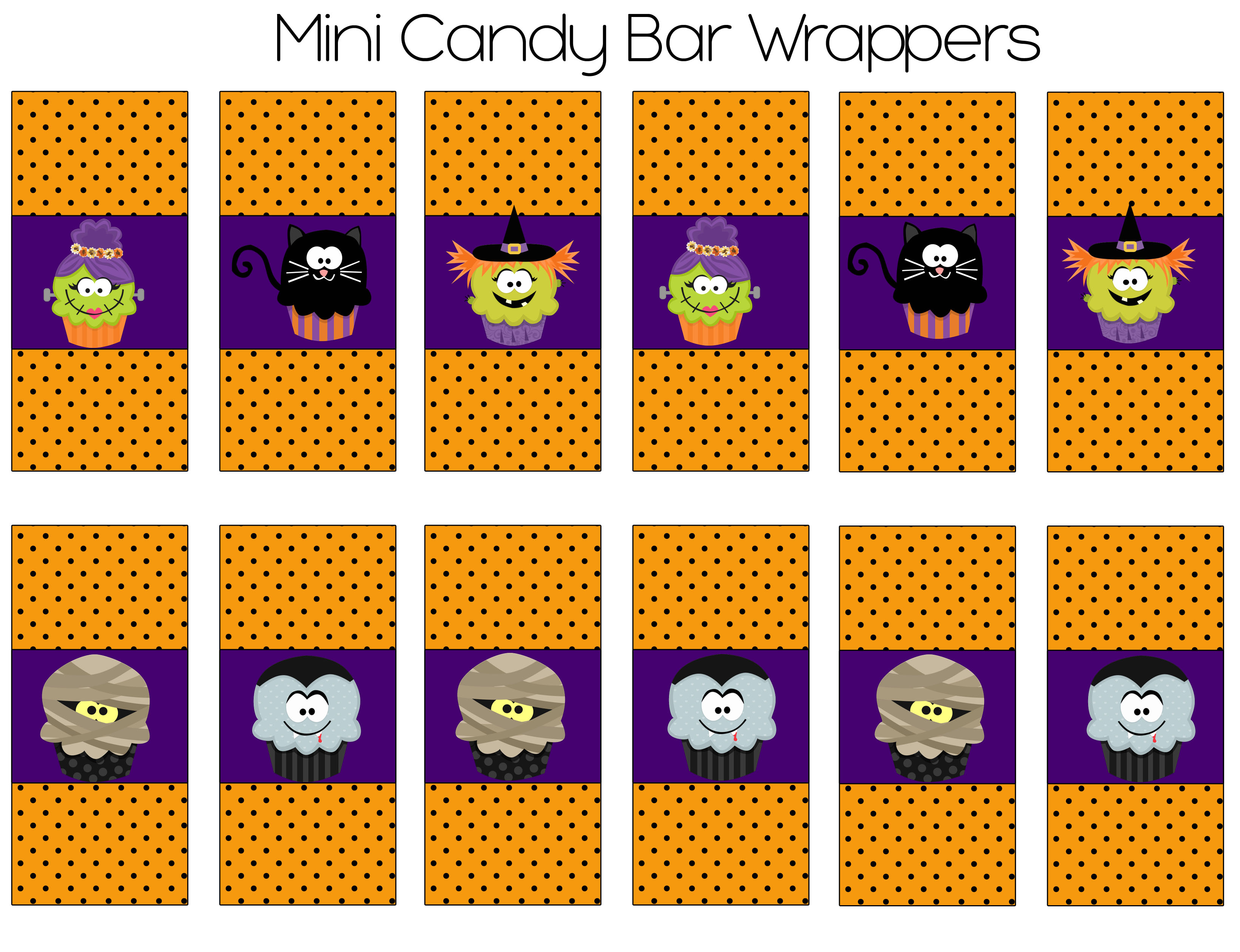 Halloween party printables for Free mini candy bar wrapper template