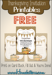 Free Pilgrim Thansgiving Invitation Printable ~ Homeketeers #Printable #Thanksgiving