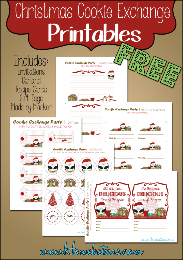 FREE Christmas Cookie Exchange Printables: Invitations, Recipe Cards, Made by Markers, Gift Tags & Garland #Printable #Christmas