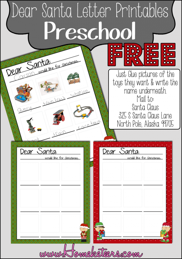Holiday printable round up free printables for Dear santa template kindergarten letter