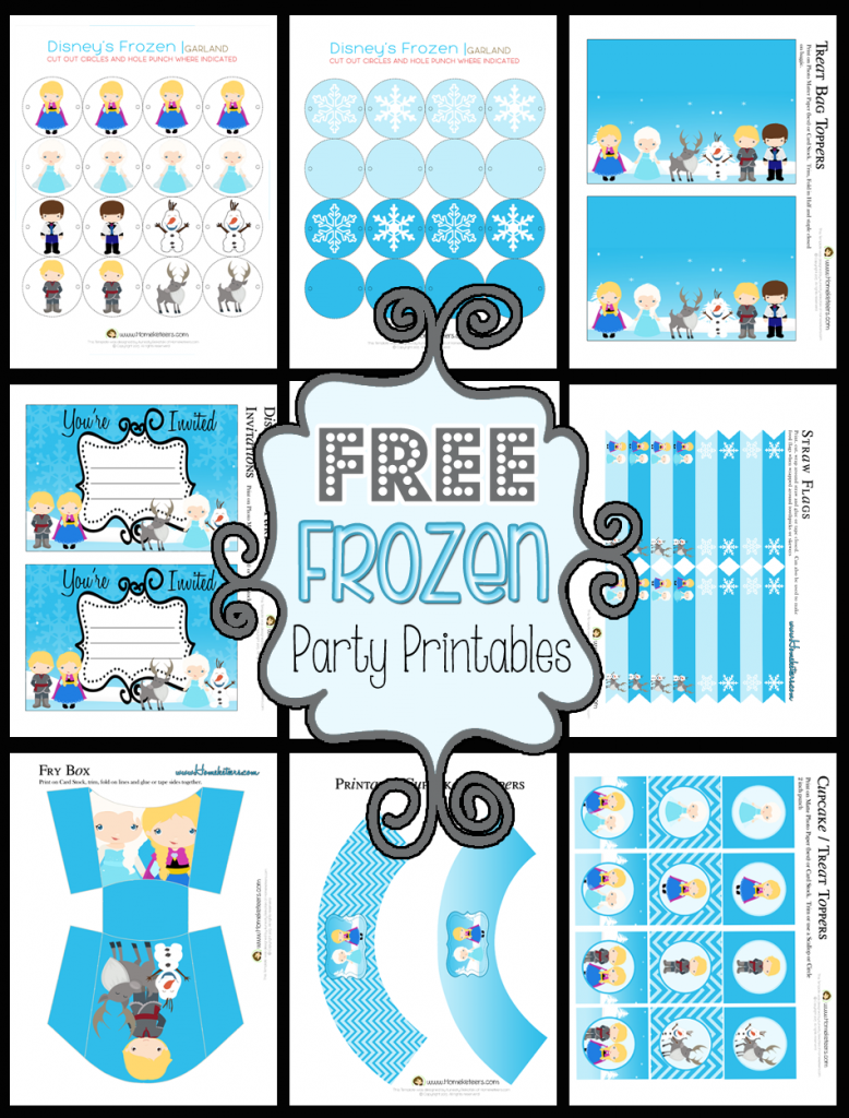 Printable Set FREE ~ Homeketeers ~ #Free #Printables #Frozen #Party