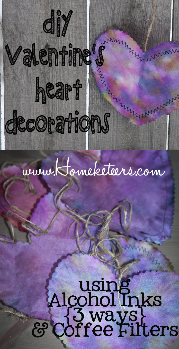 Valentine's Day Decor using Alcohol Inks – 3 Ways – Tutorial {Paper Hearts}