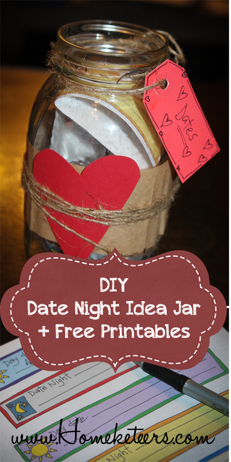 photo relating to Date Night Jar Printable identified as Do-it-yourself Day Night time Jar Absolutely free Printables