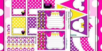 Hot Pink Minnie Mouse Birthday Party Printables Kit ~ FREE