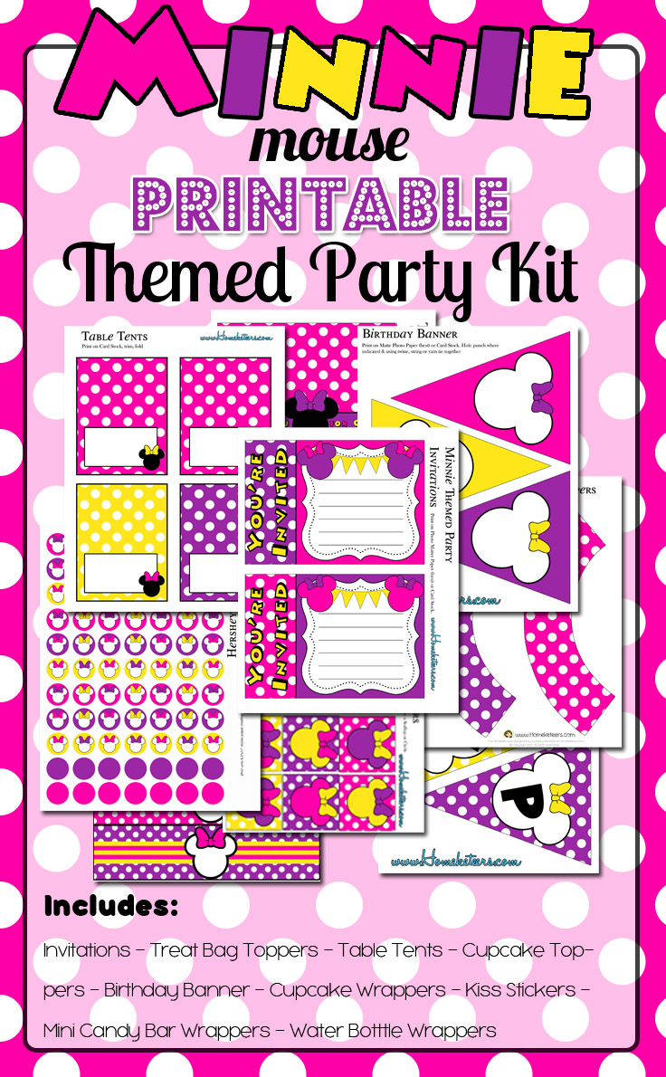 Minnie Mouse Themed Birthday Party Printables {FREE for 72 hours}