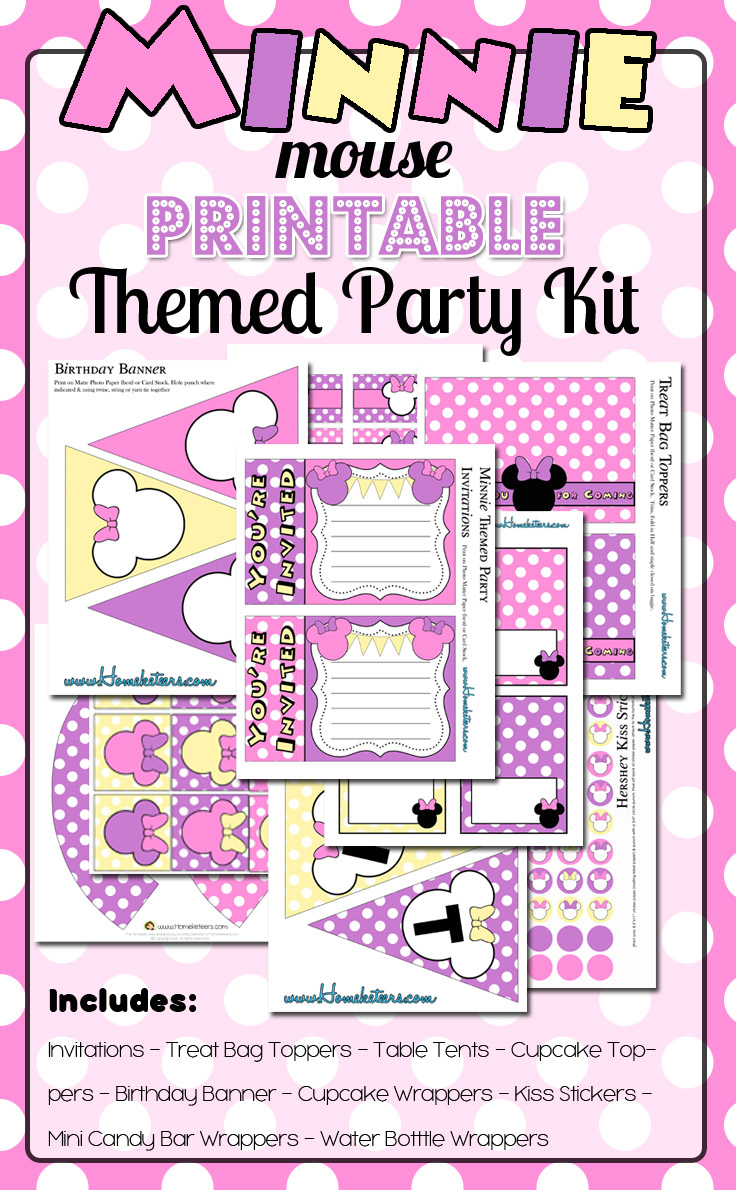 Pastel Pink Minnie Mouse Birthday Party Printables Kit ~ FREE