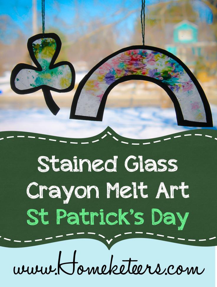Stained Glass Crayon Melt Art Kids Craft {St Patrick's Day}