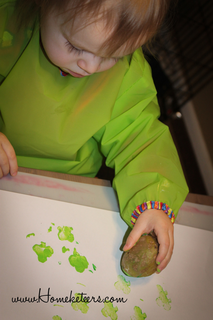 DIY St. Patrick's Day Fun Toddler Painting Activities  Potato Stamp