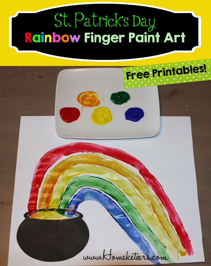 St. Patrick's Day Rainbow Finger Paint Kids Craft & Free Printable