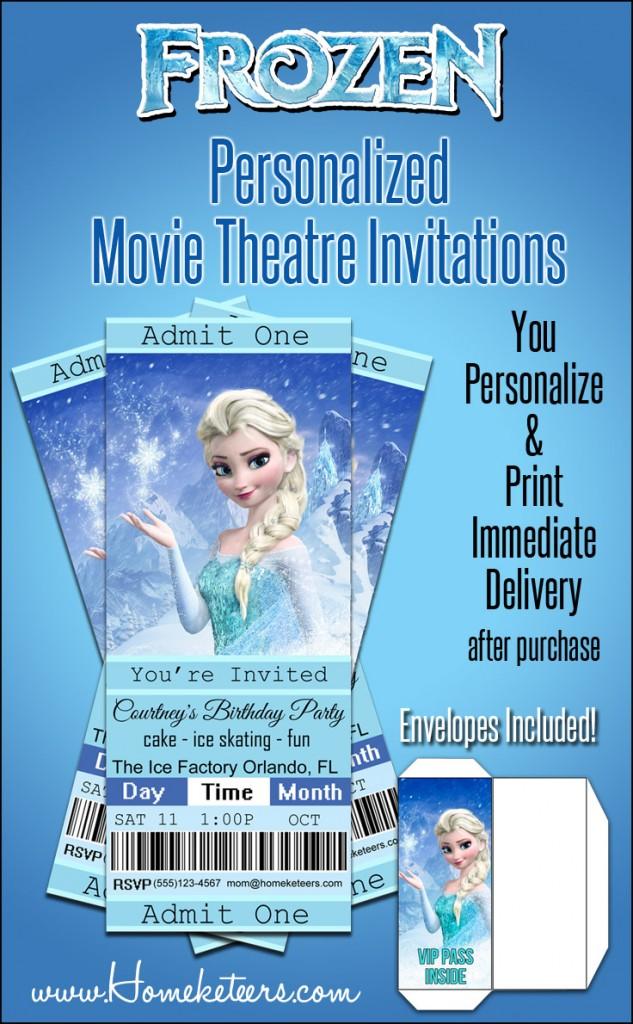 Frozen Movie Ticket Invitations