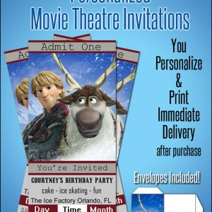 Personalized Sven & Kristoff Movie Ticket Invitations Only $1.99!