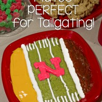 Football Field Dip with Solo Squared Plates - Perfect for Tailgating #GoBigRed